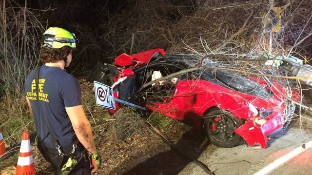 $385K Ferrari totaled after going airborn in Texas