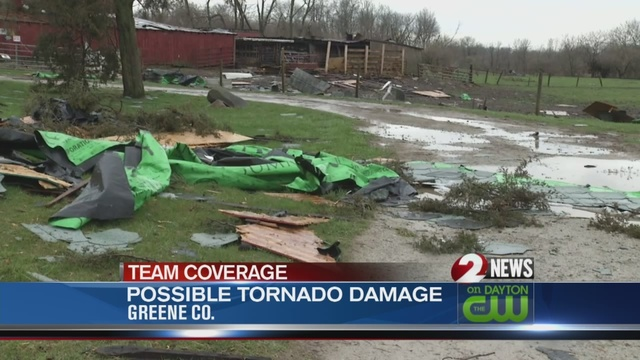 Greene County barns destroyed by possible tornadoes